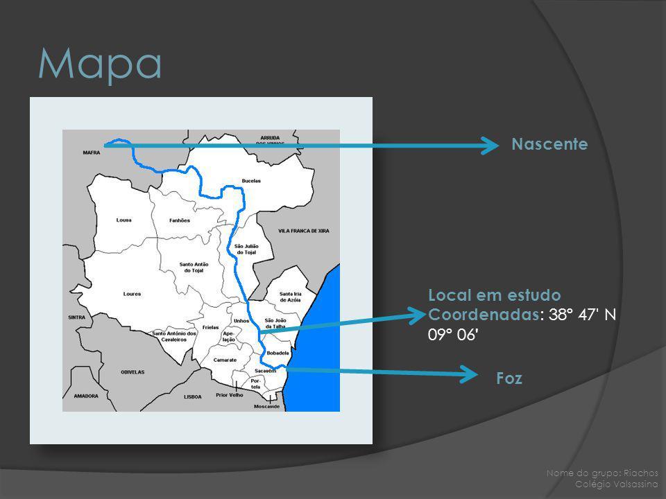 Mapa Nascente Foz Local em estudo Coordenadas : 38º 47' N 09º 06 ' Nome do grupo: Riachos Colégio Valsassina