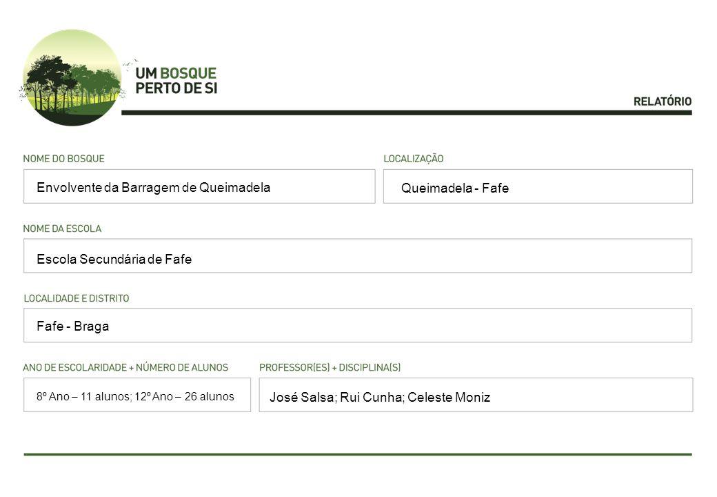 Queimadela - Fafe Escola Secundária de Fafe Fafe - Braga José Salsa; Rui Cunha; Celeste Moniz Envolvente da Barragem de Queimadela 8º Ano – 11 alunos; 12º Ano – 26 alunos