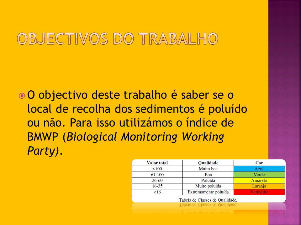 O objectivo deste trabalho é saber se o local de recolha dos sedimentos é poluído ou não. Para isso utilizámos o índice de BMWP (Biological Monitoring