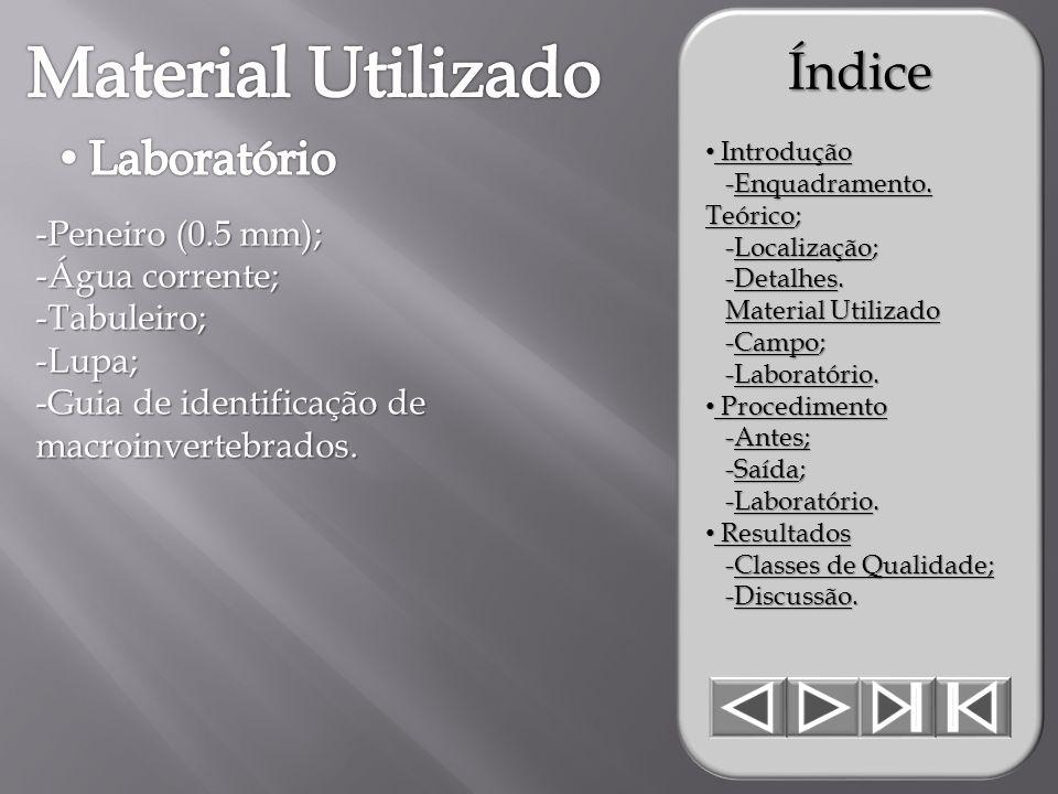 -Peneiro (0.5 mm); -Água corrente; -Tabuleiro;-Lupa; -Guia de identificação de macroinvertebrados.