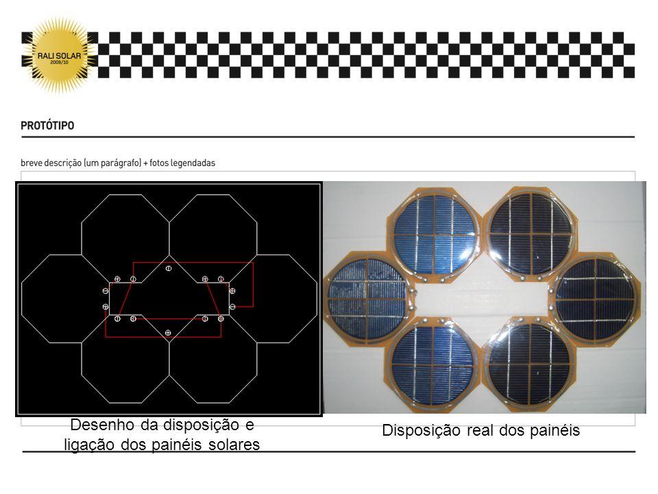 Desenho estrutura protótipo Disposição real dos painéis Desenho da disposição e ligação dos painéis solares