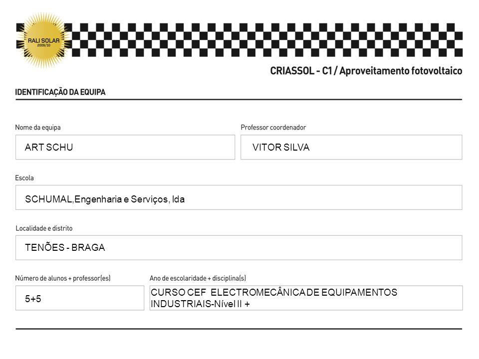 VITOR SILVA SCHUMAL,Engenharia e Serviços, lda TENÕES - BRAGA CURSO CEF ELECTROMECÂNICA DE EQUIPAMENTOS INDUSTRIAIS-Nível II + ART SCHU 5+5