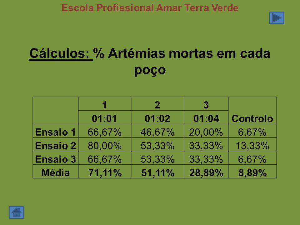 Cálculos: % Artémias mortas em cada poço 123 Controlo 01:0101:0201:04 Ensaio 166,67%46,67%20,00%6,67% Ensaio 280,00%53,33%33,33%13,33% Ensaio 366,67%53,33%33,33%6,67% Média71,11%51,11%28,89%8,89% Escola Profissional Amar Terra Verde