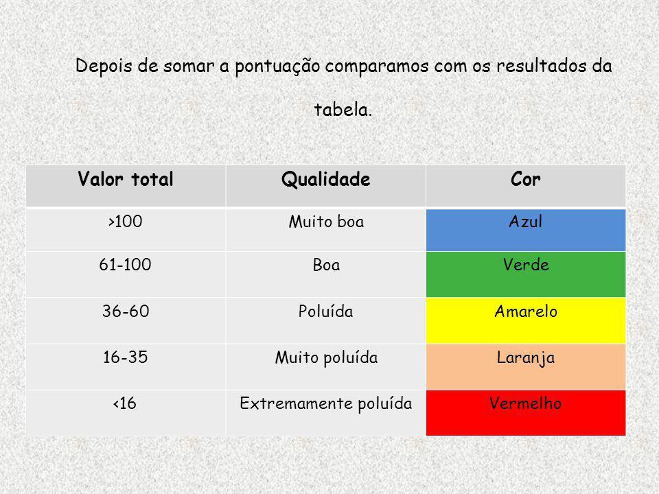 Valor totalQualidadeCor >100Muito boaAzul 61-100BoaVerde 36-60PoluídaAmarelo 16-35Muito poluídaLaranja <16Extremamente poluídaVermelho Depois de somar