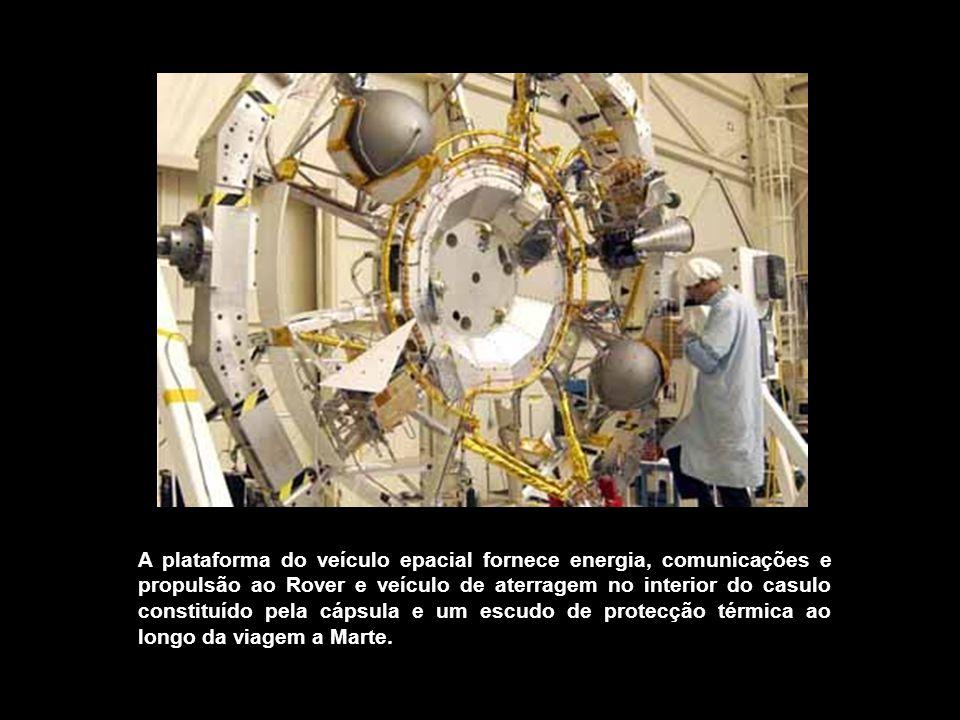 A plataforma do veículo epacial fornece energia, comunicações e propulsão ao Rover e veículo de aterragem no interior do casulo constituído pela cápsu