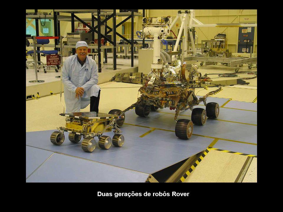 Duas gerações de robôs Rover