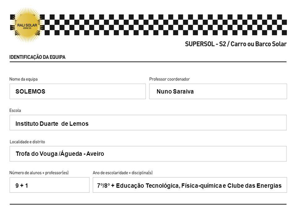 Nuno Saraiva Instituto Duarte de Lemos Trofa do Vouga /Águeda - Aveiro 7º/8º + Educação Tecnológica, Física-química e Clube das Energias SOLEMOS 9 + 1