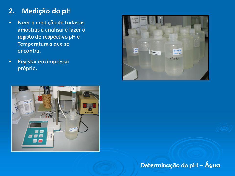 Determinação do pH – Água 2. Medição do pH Fazer a medição de todas as amostras a analisar e fazer o registo do respectivo pH e Temperatura a que se e