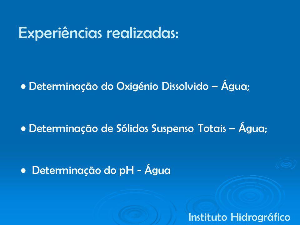Determinação do Oxigénio Dissolvido – Água; Determinação de Sólidos Suspenso Totais – Água; Determinação do pH - Água Instituto Hidrográfico Experiênc