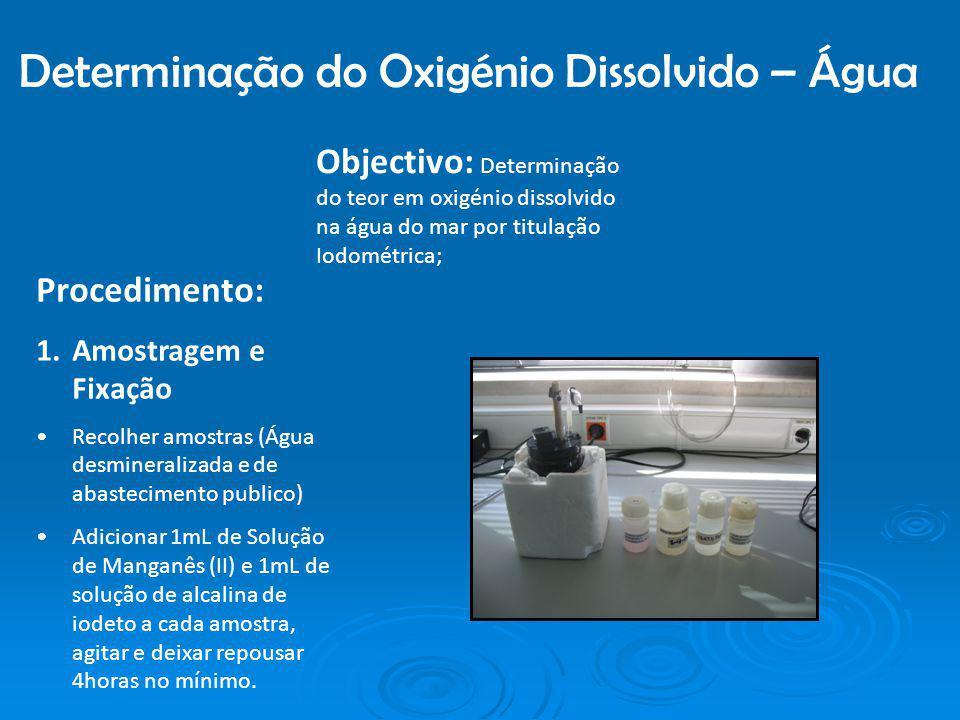 Determinação do Oxigénio Dissolvido – Água Objectivo: Determinação do teor em oxigénio dissolvido na água do mar por titulação Iodométrica; Procedimen