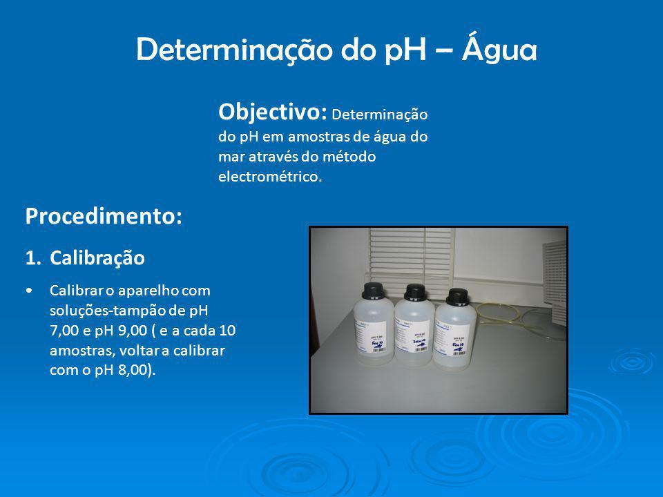 Determinação do pH – Água Objectivo: Determinação do pH em amostras de água do mar através do método electrométrico. Procedimento: 1.Calibração Calibr