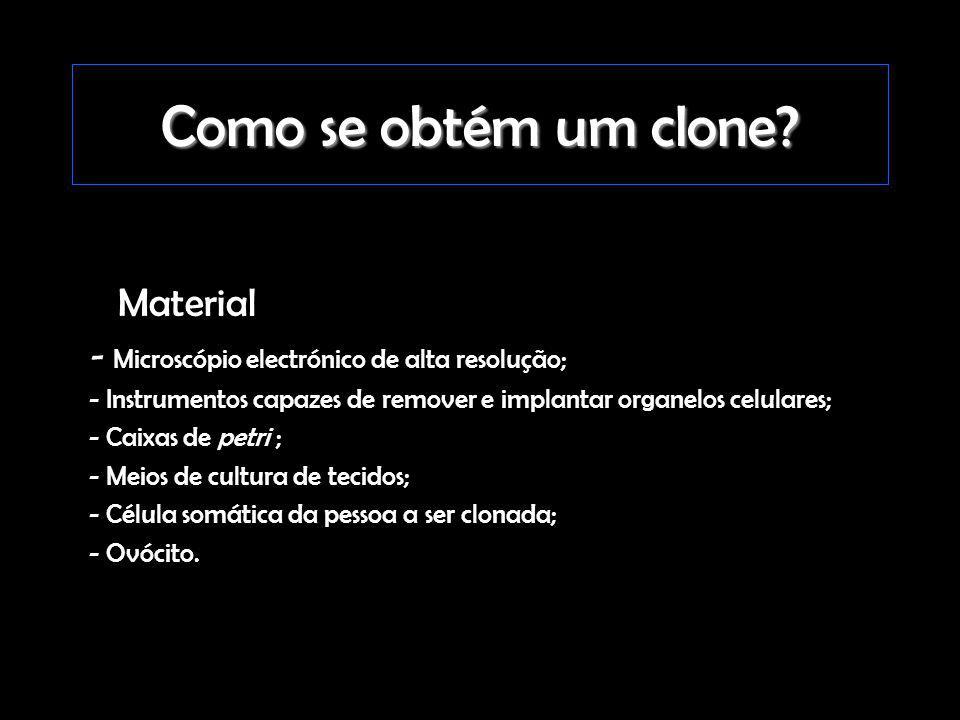 Como se obtém um clone? Material - Microscópio electrónico de alta resolução; - Instrumentos capazes de remover e implantar organelos celulares; - Cai