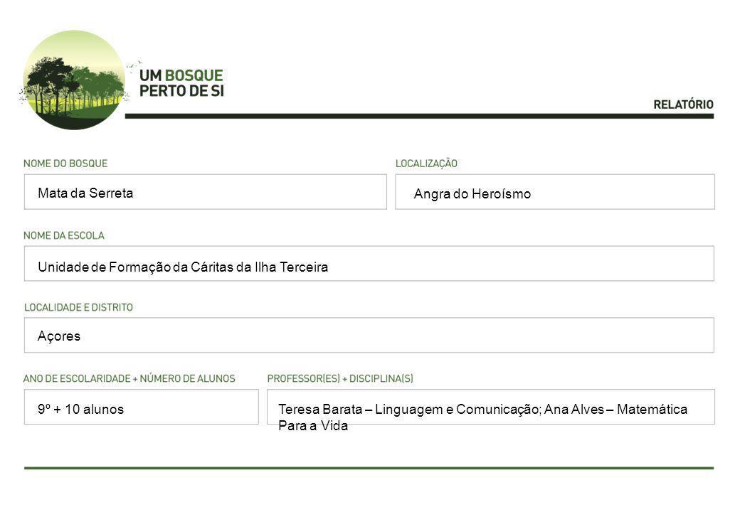 Angra do Heroísmo Unidade de Formação da Cáritas da Ilha Terceira Açores Teresa Barata – Linguagem e Comunicação; Ana Alves – Matemática Para a Vida Mata da Serreta 9º + 10 alunos
