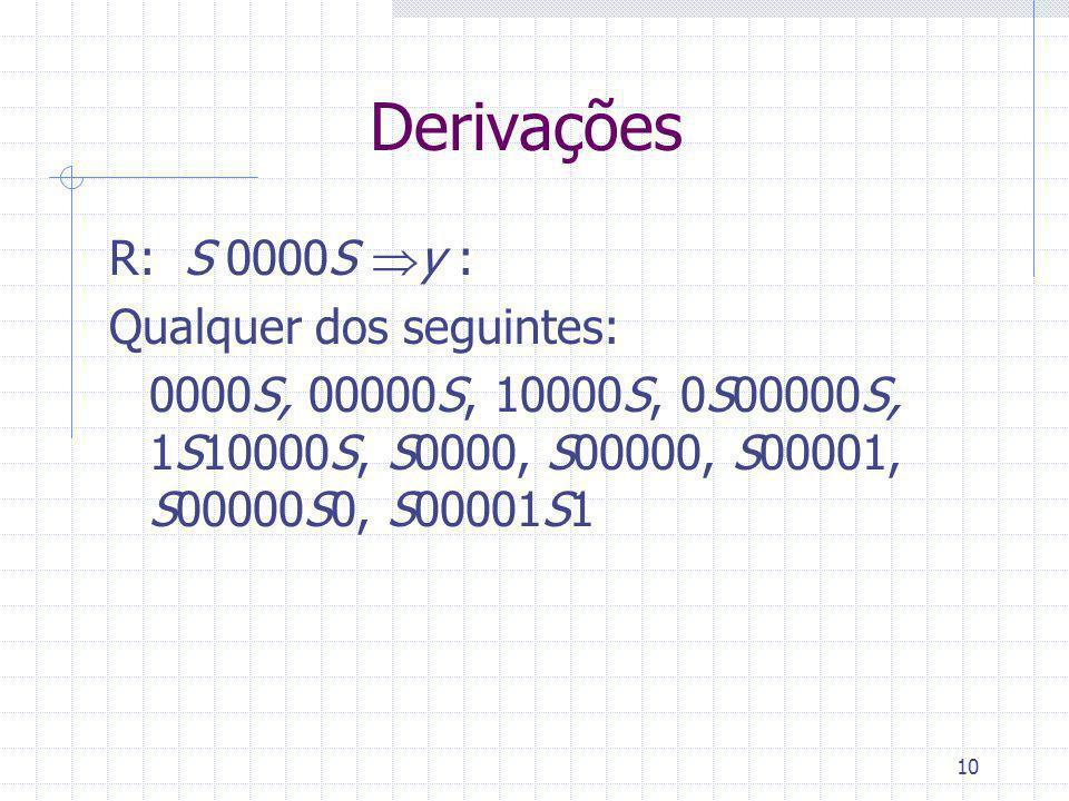 10 Derivações R: S 0000S y : Qualquer dos seguintes: 0000S, 00000S, 10000S, 0S00000S, 1S10000S, S0000, S00000, S00001, S00000S0, S00001S1