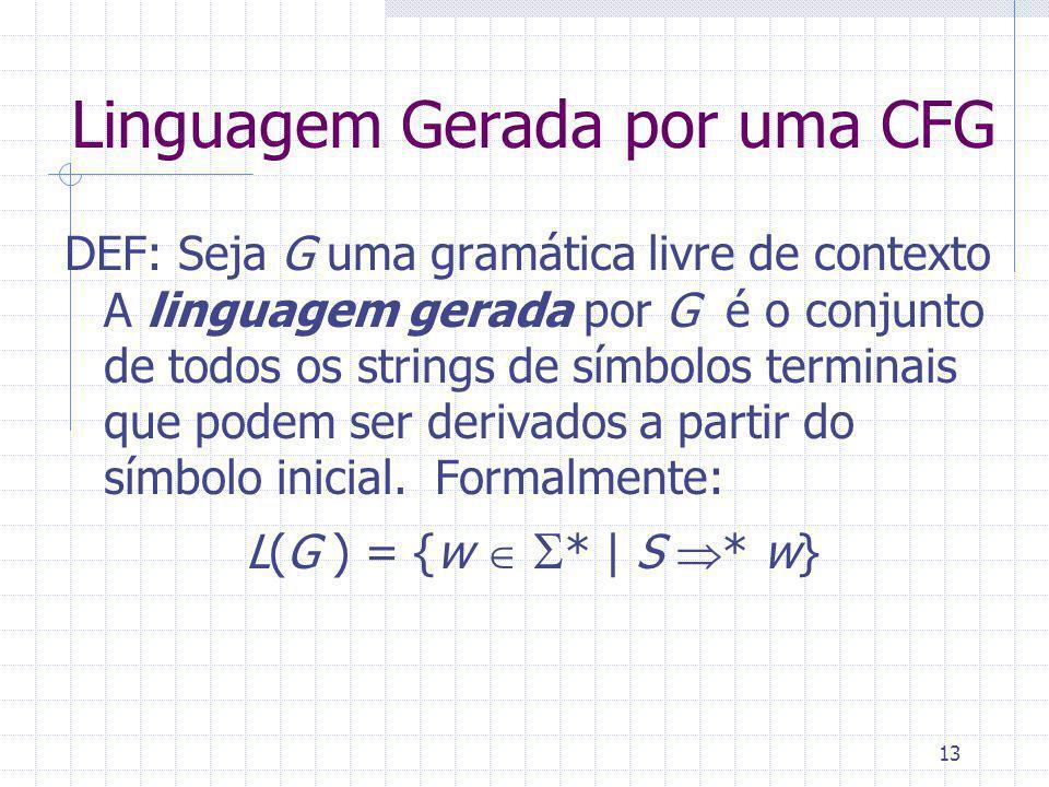 13 Linguagem Gerada por uma CFG DEF: Seja G uma gramática livre de contexto A linguagem gerada por G é o conjunto de todos os strings de símbolos terminais que podem ser derivados a partir do símbolo inicial.
