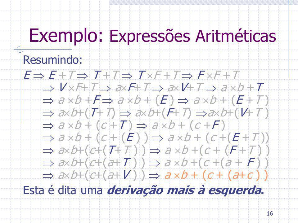 16 Exemplo: Expressões Aritméticas Resumindo: E E +T T +T T F +T F F +T V F+T a F+T a V+T a b +T a b +F a b + (E ) a b + (E +T ) a b+(T+T) a b+(F+T) a