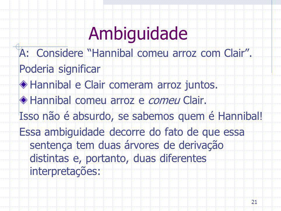 21 Ambiguidade A: Considere Hannibal comeu arroz com Clair. Poderia significar Hannibal e Clair comeram arroz juntos. Hannibal comeu arroz e comeu Cla