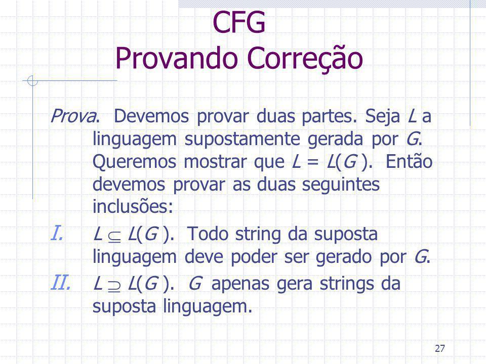 27 CFG Provando Correção Prova. Devemos provar duas partes. Seja L a linguagem supostamente gerada por G. Queremos mostrar que L = L(G ). Então devemo