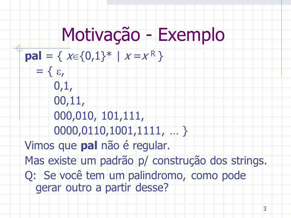 3 Motivação - Exemplo pal = { x {0,1}* | x =x R } = {, 0,1, 00,11, 000,010, 101,111, 0000,0110,1001,1111, … } Vimos que pal não é regular.