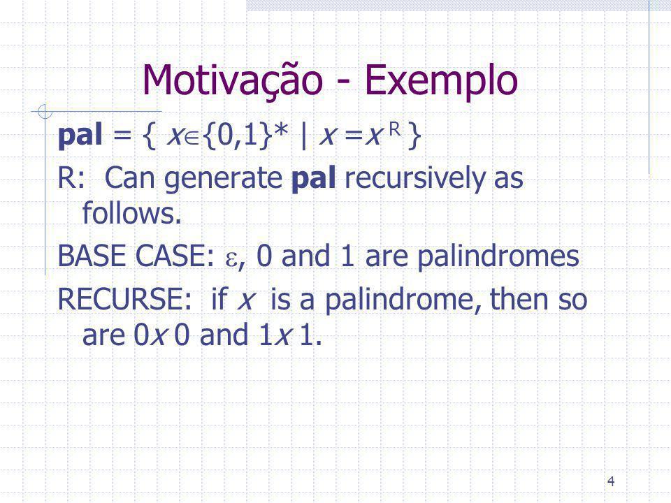 5 Motivação - Exemplo pal = { x {0,1}* | x =x R } RESUMO: Qualquer x pal pode ser usado em {, 0, 1, 0x 0, 1x 1} p/ obter novo string de pal NOTAÇÃO: x |0|1|0x 0|1x 1 Cada | é simplesmente ou, como em expressões regulares UNIX.