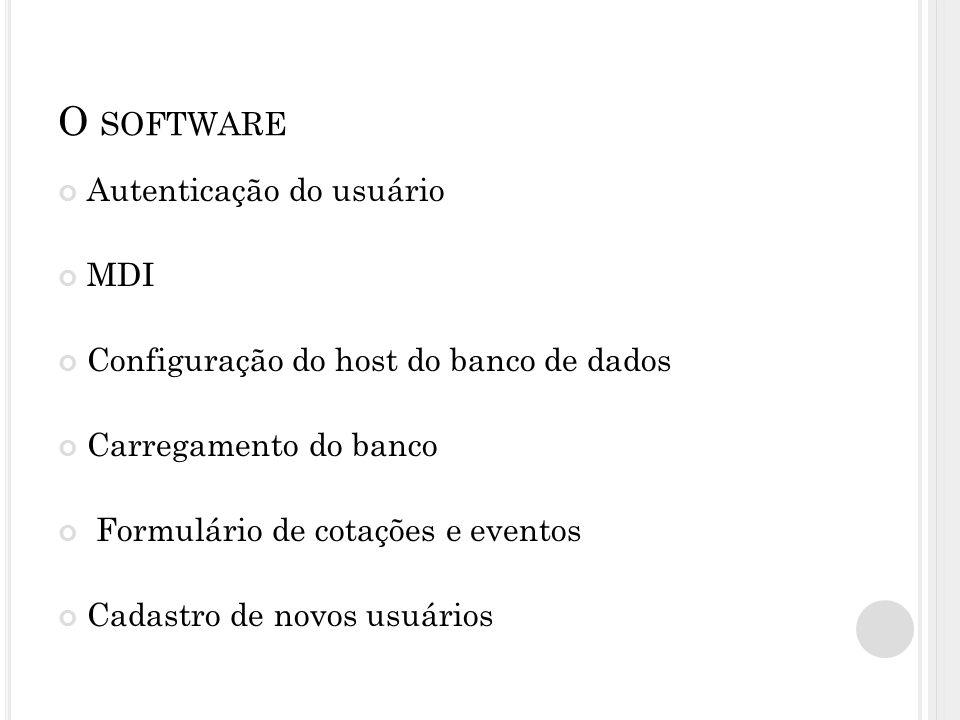 O SOFTWARE Autenticação do usuário MDI Configuração do host do banco de dados Carregamento do banco Formulário de cotações e eventos Cadastro de novos usuários