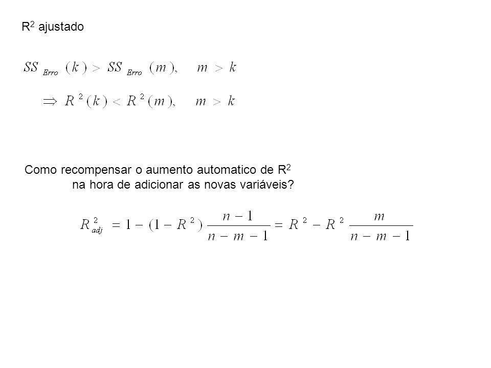 R 2 ajustado Como recompensar o aumento automatico de R 2 na hora de adicionar as novas variáveis?