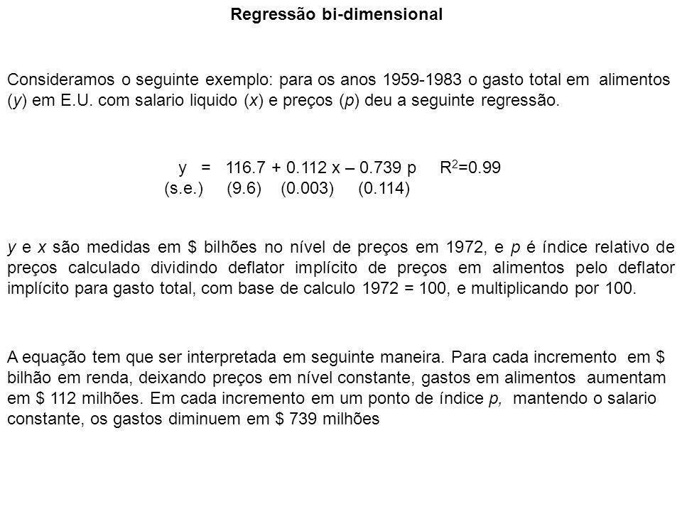 Regressão bi-dimensional y = 116.7 + 0.112 x – 0.739 p R 2 =0.99 (s.e.) (9.6) (0.003) (0.114) Consideramos o seguinte exemplo: para os anos 1959-1983 o gasto total em alimentos (y) em E.U.