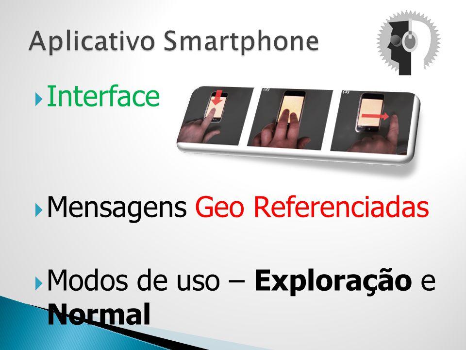 Interface Mensagens Geo Referenciadas Modos de uso – Exploração e Normal