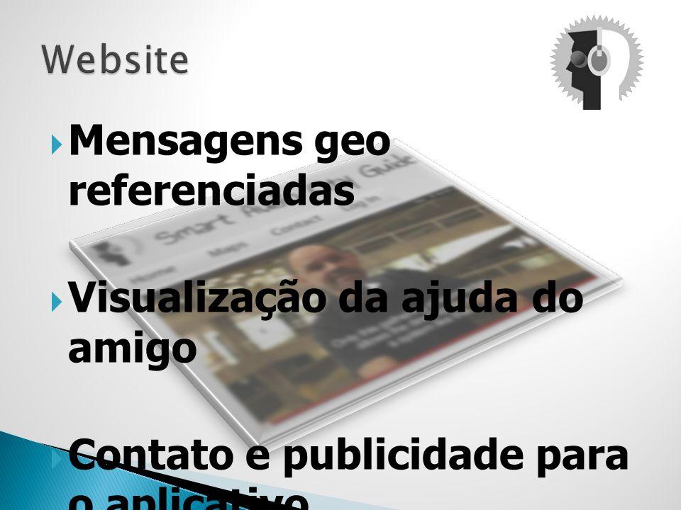 Mensagens geo referenciadas Visualização da ajuda do amigo Contato e publicidade para o aplicativo