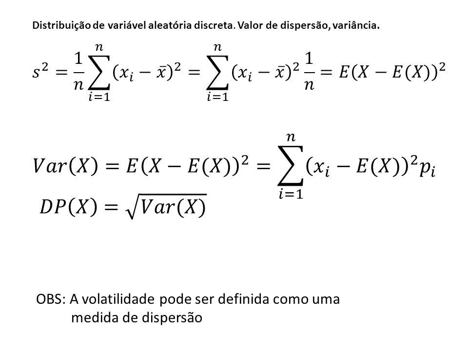 Distribuição de variável aleatória discreta. Valor de dispersão, variância.