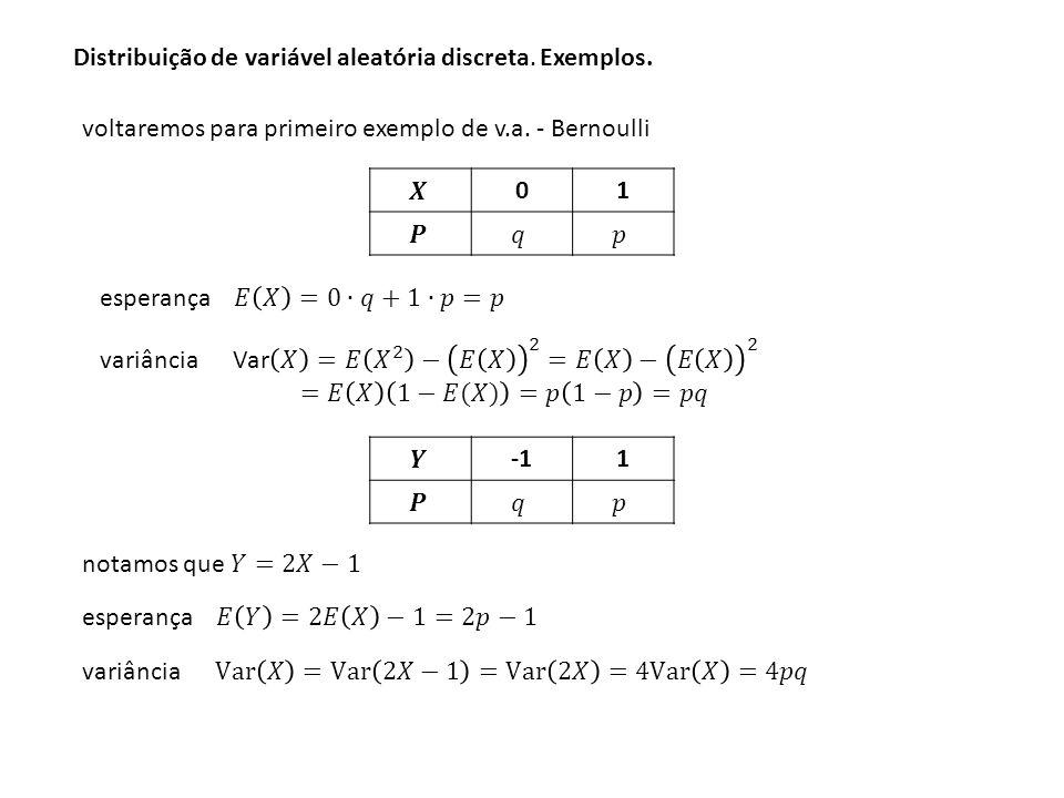 Distribuição de variável aleatória discreta. Propriedades Esperança e Variância.