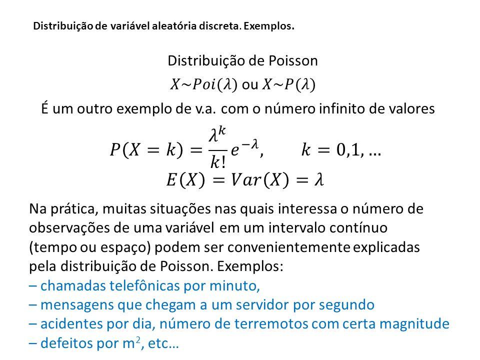 Distribuição de variável aleatória discreta.Exemplos.
