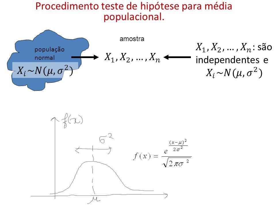 Procedimento teste de hipótese para média populacional. amostra população normal
