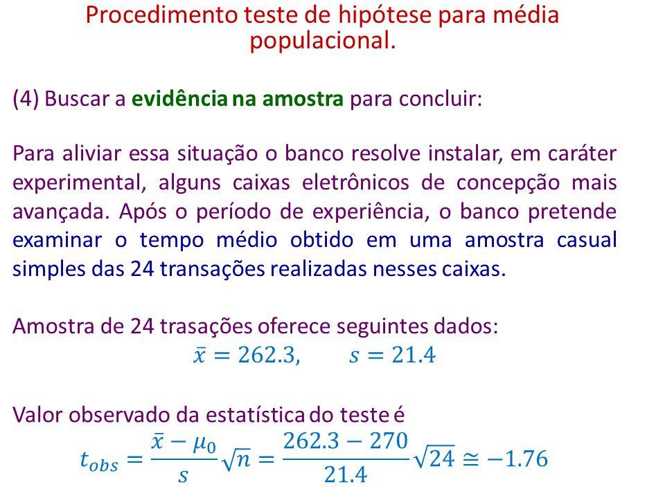 Procedimento teste de hipótese para média populacional.