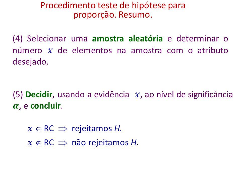 Procedimento teste de hipótese para proporção. Região crítica.