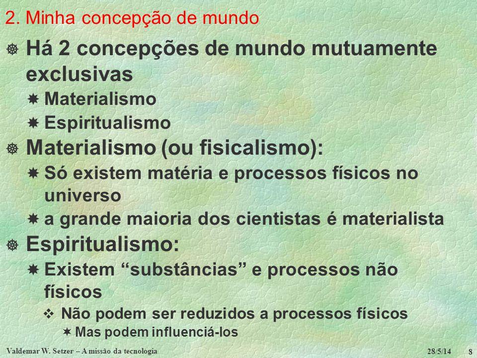 2. Minha concepção de mundo Há 2 concepções de mundo mutuamente exclusivas Materialismo Espiritualismo Materialismo (ou fisicalismo): Só existem matér