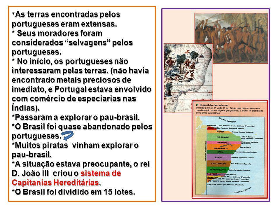 As terras encontradas pelos portugueses eram extensas. * Seus moradores foram considerados selvagens pelos portugueses. * No início, os portugueses nã