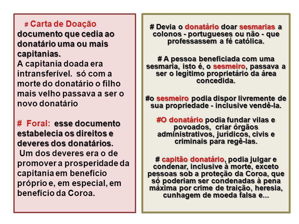 documento que cedia ao donatário uma ou mais capitanias. esse documento estabelecia os direitos e deveres dos donatários # Carta de Doação documento q
