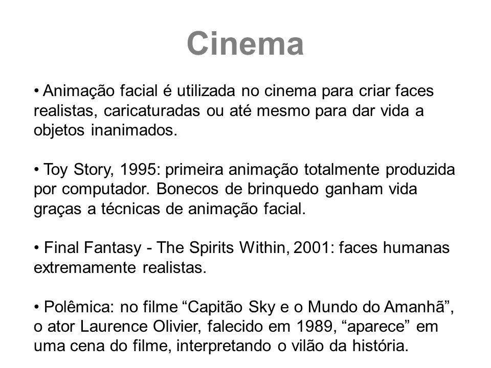 Animação facial é utilizada no cinema para criar faces realistas, caricaturadas ou até mesmo para dar vida a objetos inanimados. Toy Story, 1995: prim