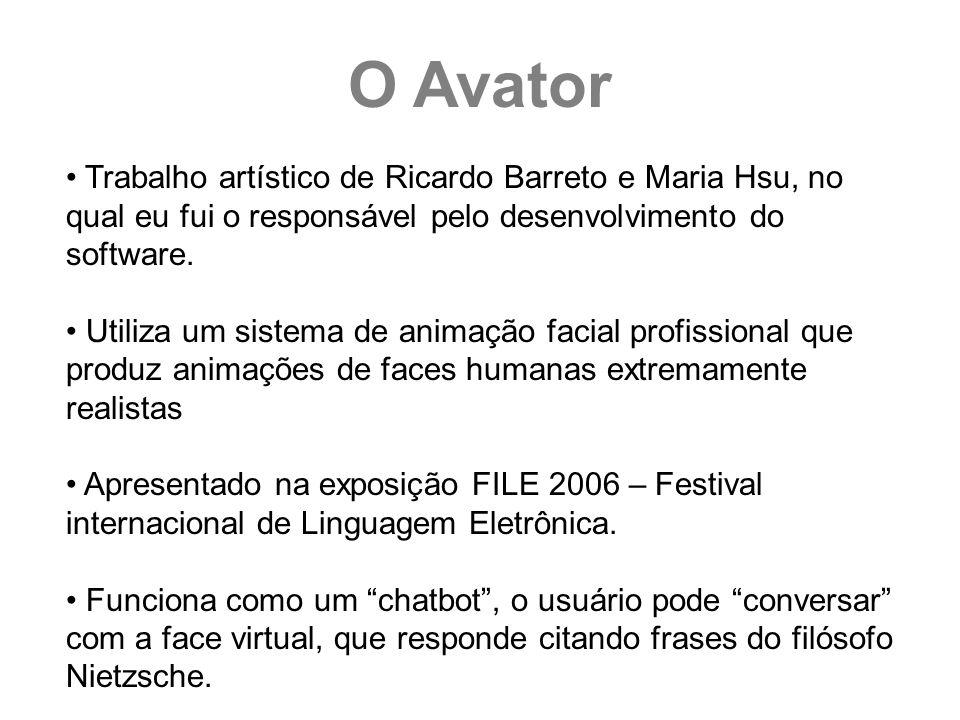Trabalho artístico de Ricardo Barreto e Maria Hsu, no qual eu fui o responsável pelo desenvolvimento do software. Utiliza um sistema de animação facia