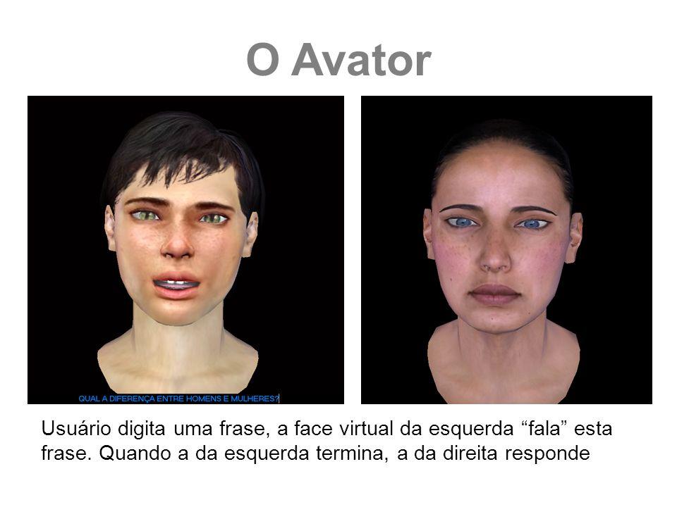 Usuário digita uma frase, a face virtual da esquerda fala esta frase. Quando a da esquerda termina, a da direita responde O Avator