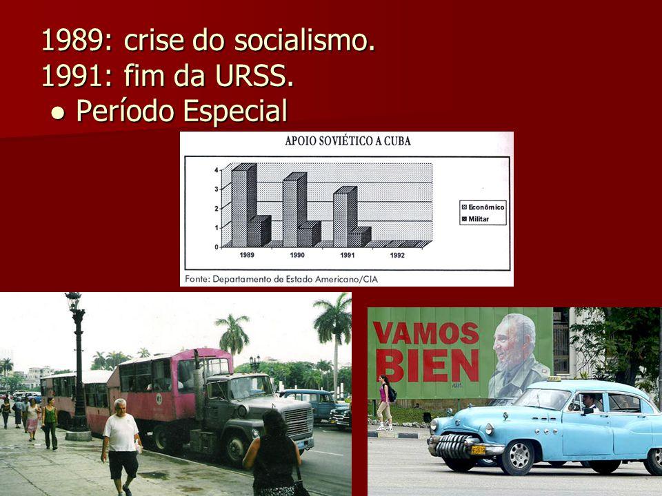 1989: crise do socialismo. 1991: fim da URSS. Período Especial