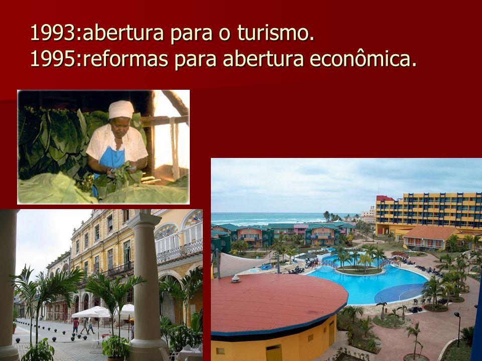 1993:abertura para o turismo. 1995:reformas para abertura econômica.