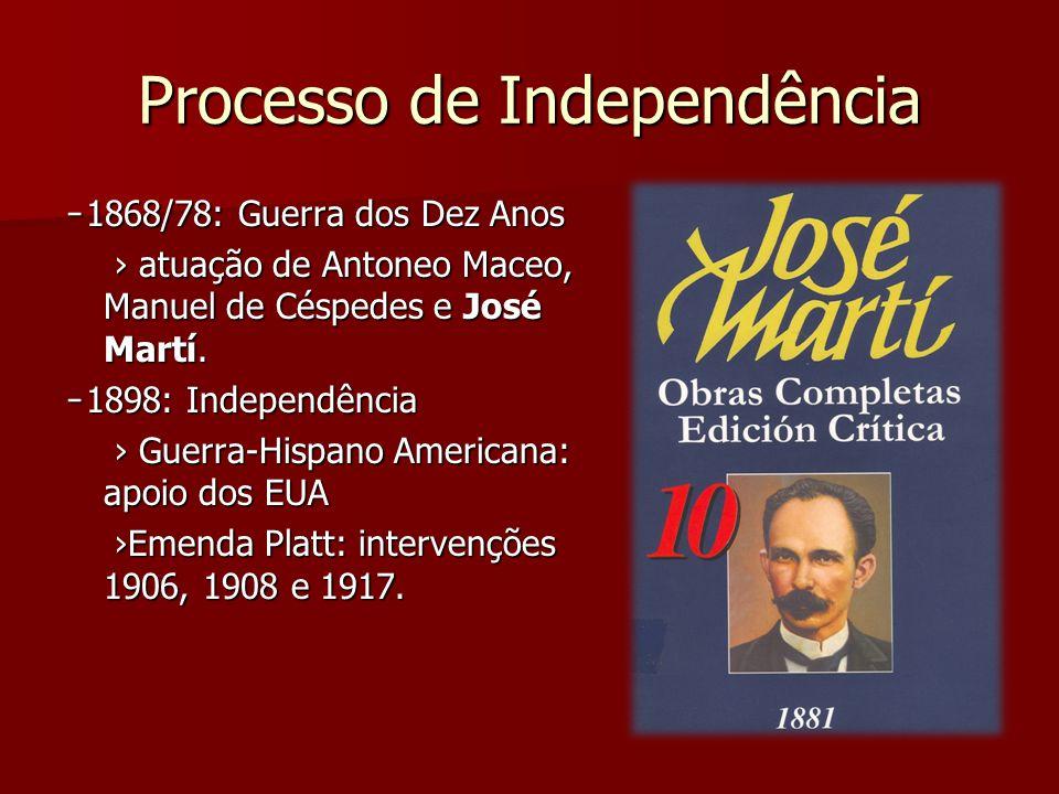 Processo de Independência ̵ 1868/78: Guerra dos Dez Anos ̵ 1868/78: Guerra dos Dez Anos atuação de Antoneo Maceo, Manuel de Céspedes e José Martí. atu