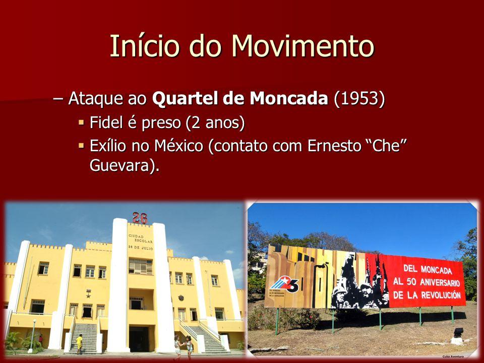 Início do Movimento –Ataque ao Quartel de Moncada (1953) Fidel é preso (2 anos) Fidel é preso (2 anos) Exílio no México (contato com Ernesto Che Gueva