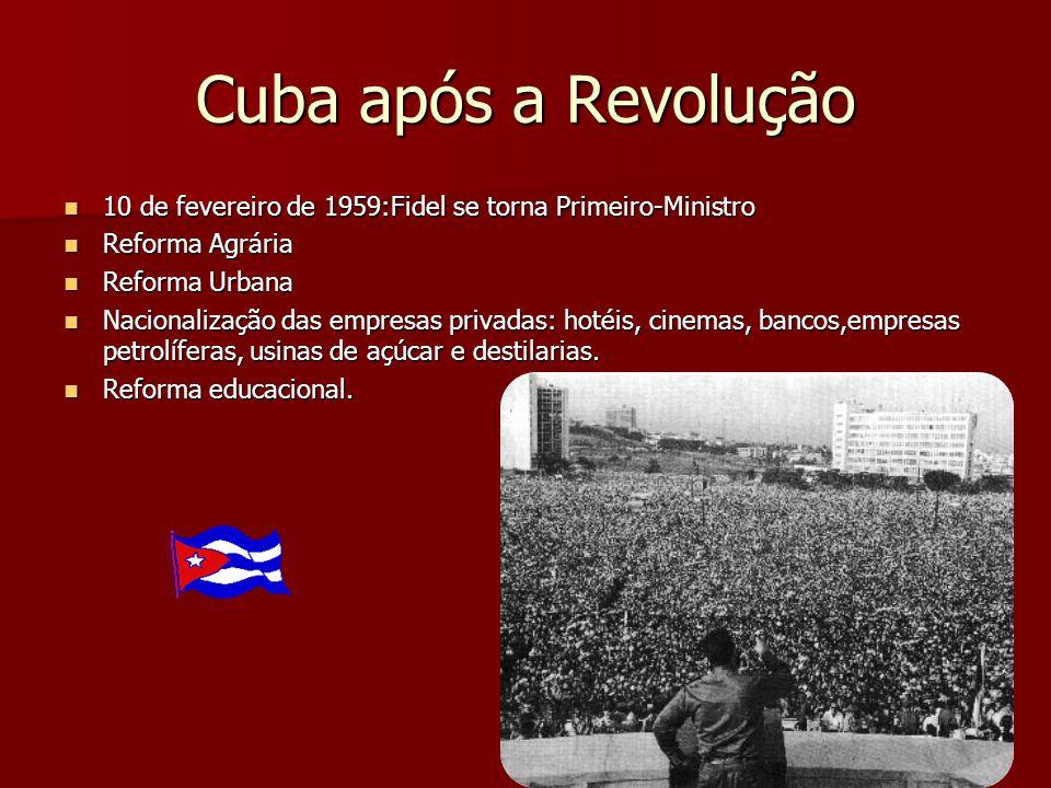 1961: embargos dos EUA. Rompimento entre EUA e Cuba Invasão da Baía dos Porcos