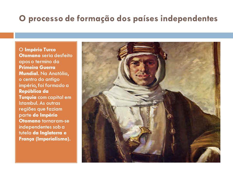 O processo de formação dos países independentes O Império Turco Otomano seria desfeito apos o termino da Primeira Guerra Mundial. Na Anatólia, o centr