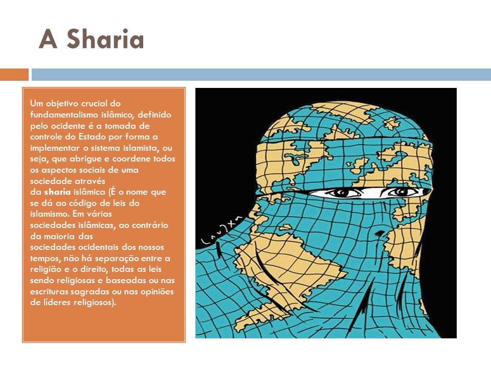 A Sharia Um objetivo crucial do fundamentalismo islâmico, definido pelo ocidente é a tomada de controle do Estado por forma a implementar o sistema is