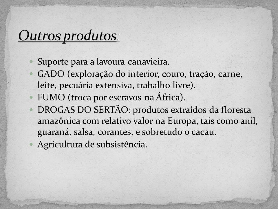 Suporte para a lavoura canavieira. GADO (exploração do interior, couro, tração, carne, leite, pecuária extensiva, trabalho livre). FUMO (troca por esc