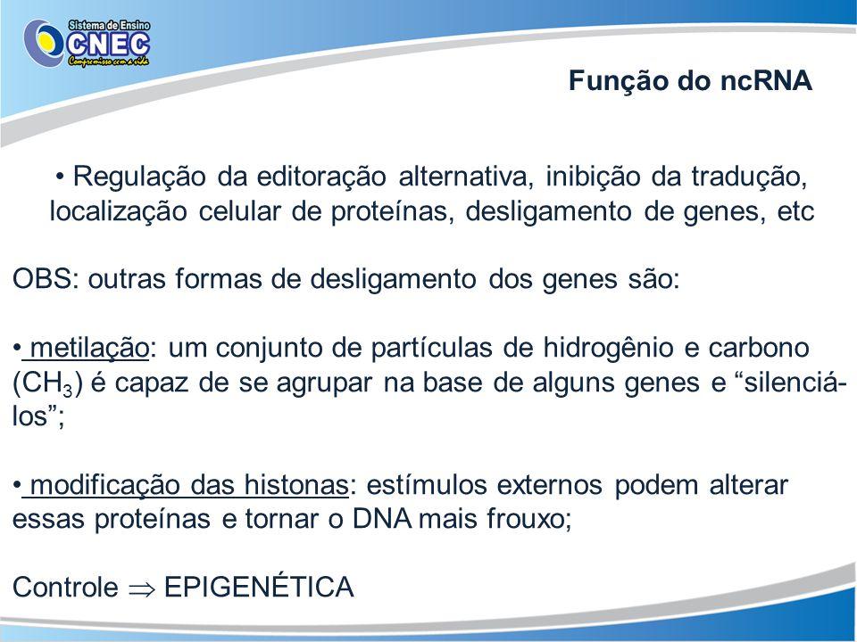 Regulação da editoração alternativa, inibição da tradução, localização celular de proteínas, desligamento de genes, etc OBS: outras formas de desligam